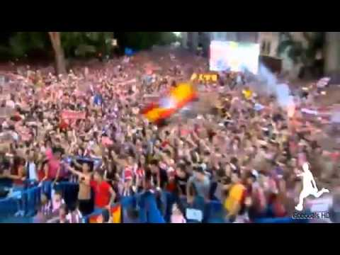 Atletico Madrid celebrate his victory in the league after drawing with Barcelona