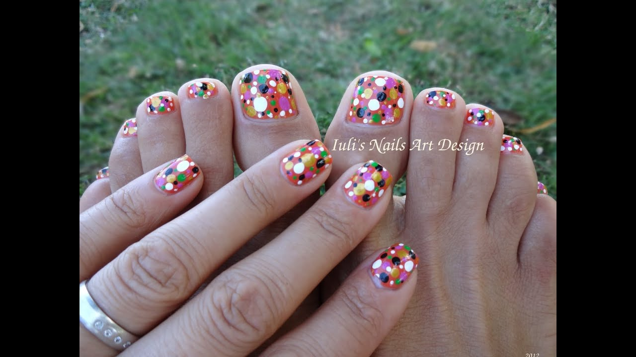 Toes art design Colortul dots easy beginners live tutorial Summer ...