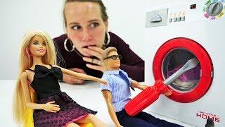 Видео с Барби для девочек. Стиральная машинка сломалась!