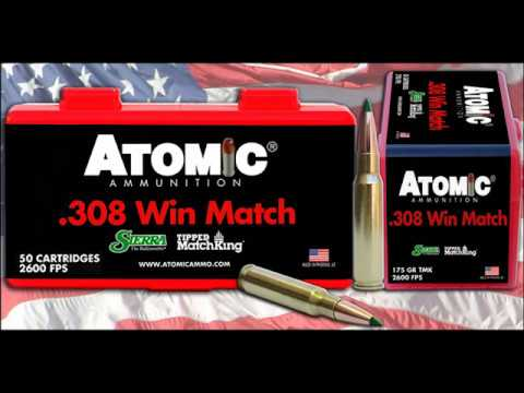 ATOMIC AMMUNITION 308 WIN MATCH 175 TMK GEL BLOCK TEST