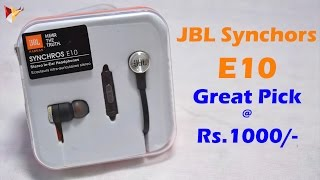 jbl synchros e10 in ear headphone with mic review   best 1k priced earphones or not   lets find out