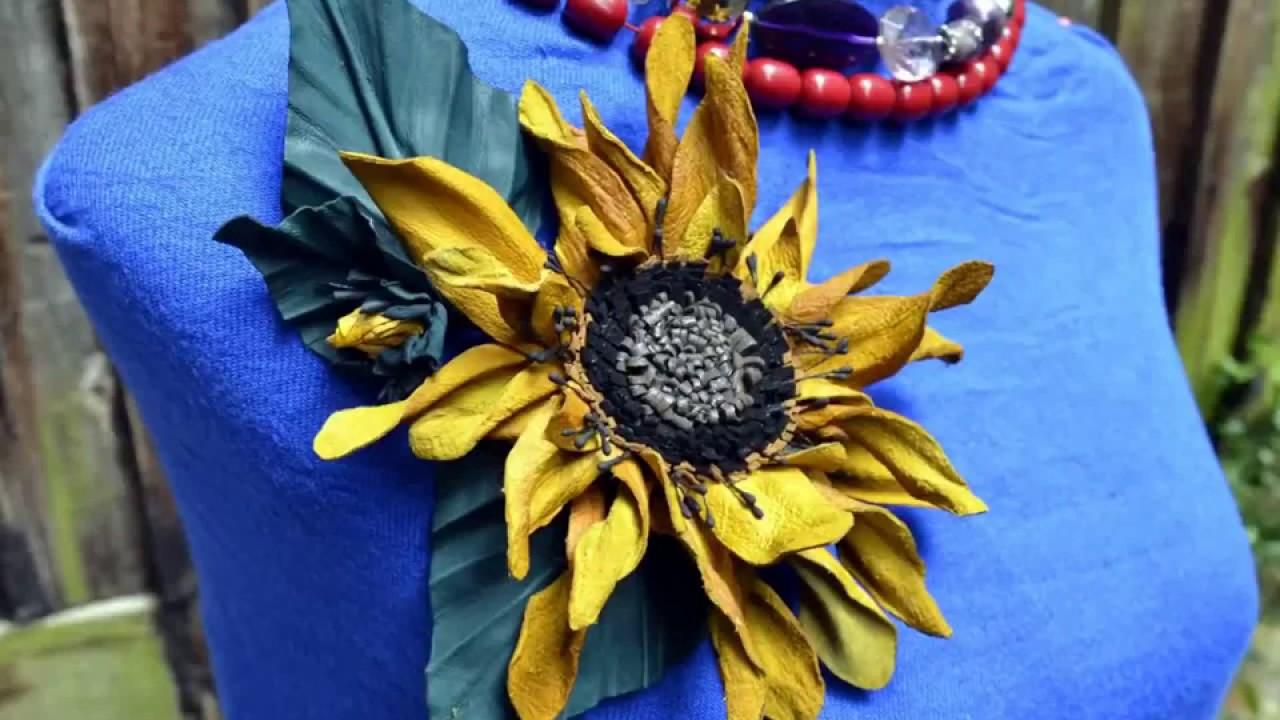 Leather Flowers Handmade By Kazakhsha Leather Art Studio Youtube