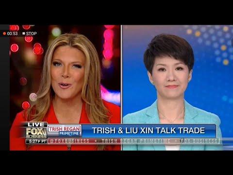 中美记者贸易战采访 刘欣 翠西 Fox business live steam China America trade war Trish Liu Xin debate interview talk