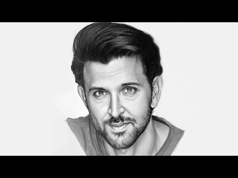 Drawing Hrithik Roshan, Realistic Pencil Drawing Time lapse