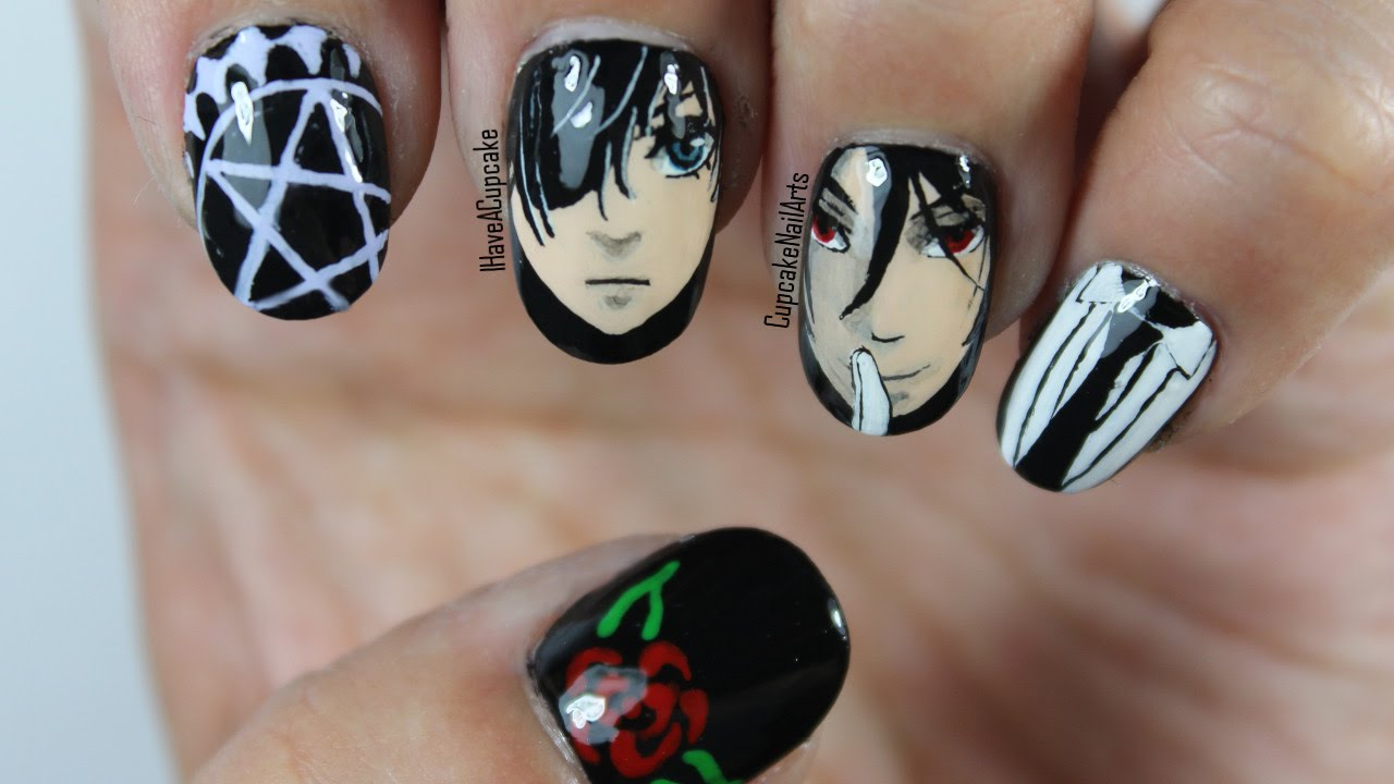 - Black Butler Nails - Anime Nail Art - - YouTube