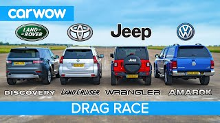 VW Amarok v Land Cruiser v Land Rover Discovery v Jeep - DRAG RACE, ROLLING RACE & BRAKE TEST!