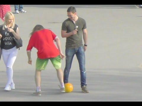 Dribbling People in Belgrade, Serbia