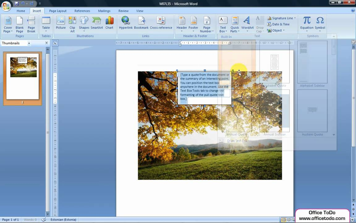 Word | How to add a transparent Text Box onto an image ...