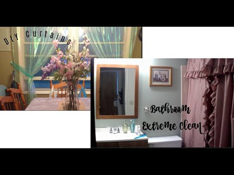 DIY CURTAINS | CLEAN WITH ME BATHROOM EXTREME CLEAN