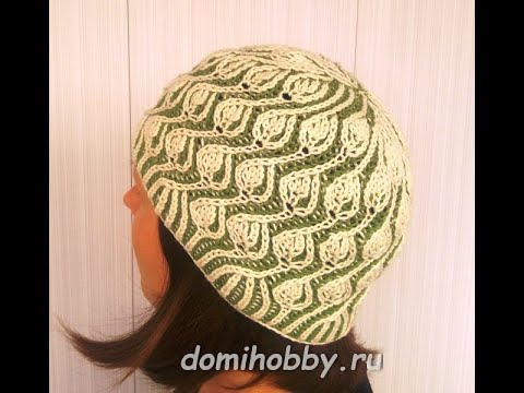 Вязание шапочки спицами узором Бриошь