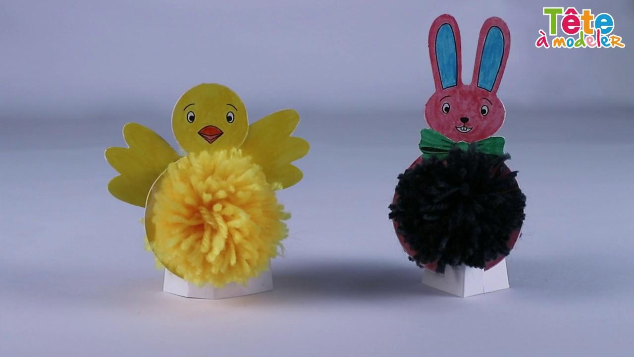 Tuto d co poussin et lapin pompons une vid o by t te modeler youtube - Poussin en pompon ...