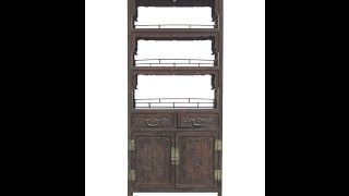 Chinese Antique Bamboo Flower Vase Carving Bookcase Display Cabinet Wk2167
