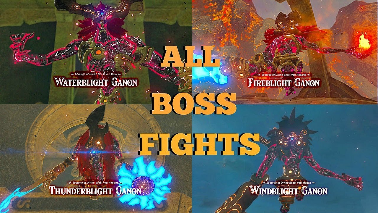 Zelda Breath Of The Wild All 4 Divine Beast Ganon Blight Boss Battles Botw