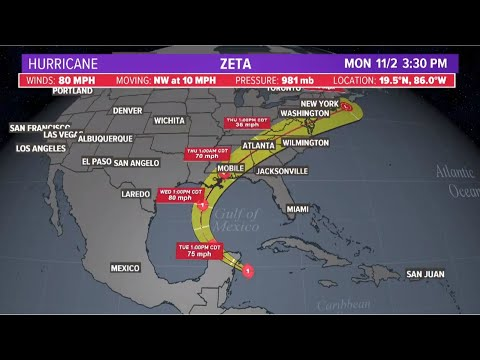 Hurricane Zeta: Forecast cone, spaghetti models and position as it gets closer to Gulf of Mexico