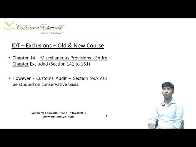 CA Final - FR SFM & IDT Exclusions for Nov 19 Exams & Onwards by CA Vinesh Savla