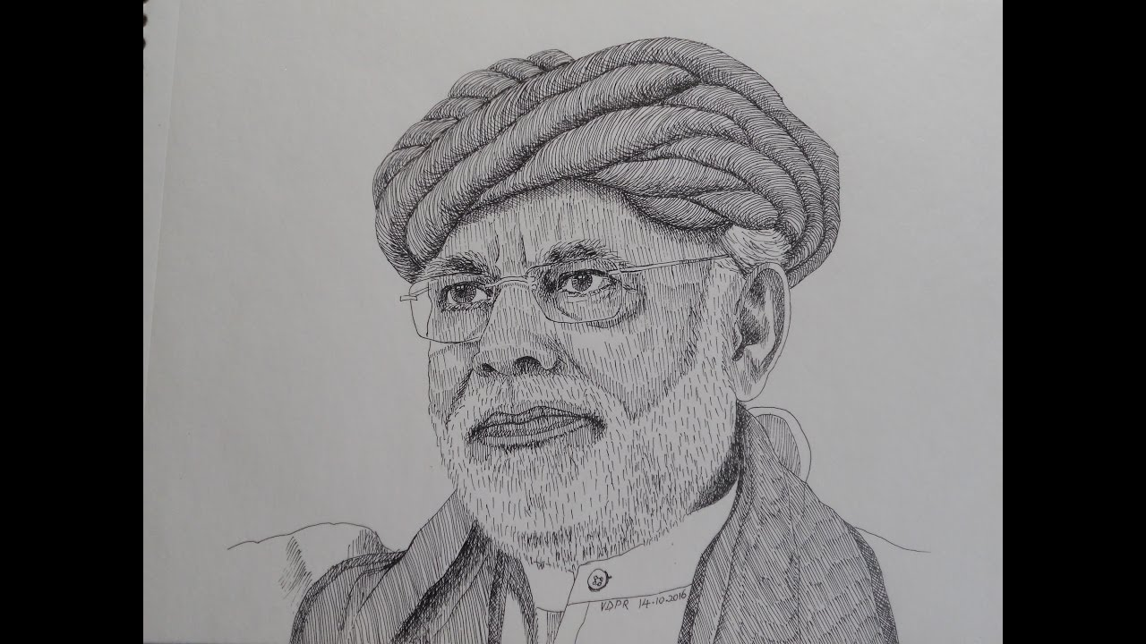 Line Drawing Face : Best line drawing narendra modi most popular pm of india