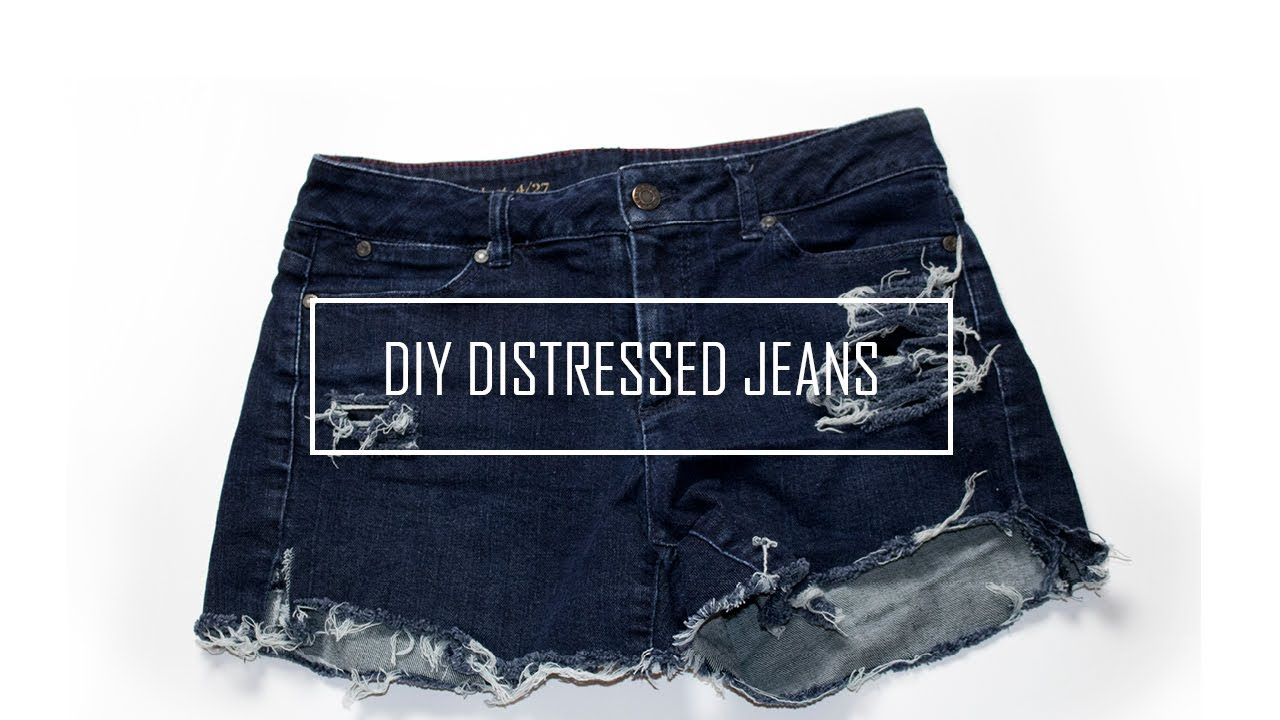 9457ae148b7d How to Distress Thrift Store Jean Pants into Cute Shorts for Summer ...