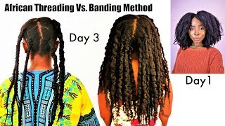 Hands Down The BESTNatural Hair No Heat Stretching | African Threading | Banding Method