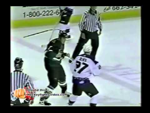 Feb 22, 2003 Greg Olsen vs Riley Cote Indianapolis Ice vs Memphis  Riverkings CHL