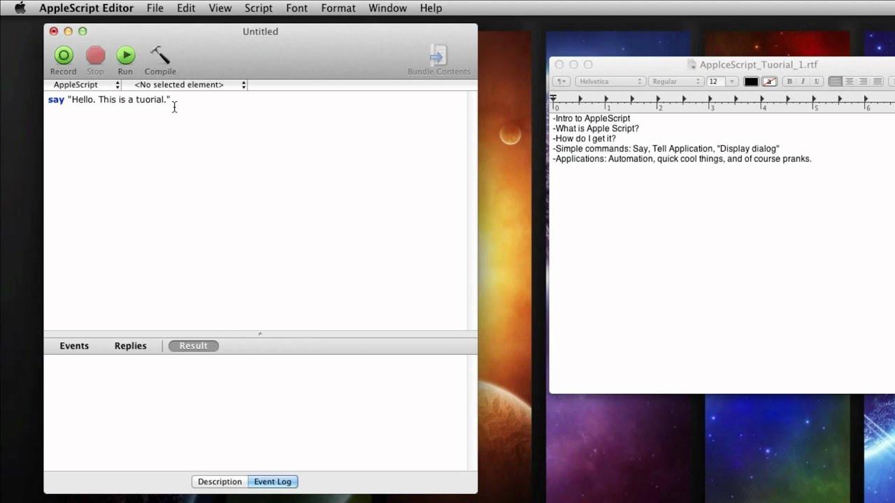 AppleScript Beginner Tutorial 1 (For Absolute Beginners)