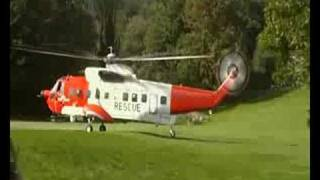 Irish Coast Guard Search and Rescue Helicopter lands at Castlewellan Castle Co Down Northern Ireland