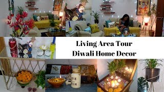Living Area Tour , Decor Ideas |  Dining Room , Stairs, Drawing Room Diwali Decor