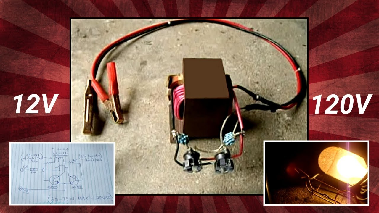 110 220 Single Phase Motor Wiring Diagram Microwave Oven Transformer Mot 12v To 120v Inverter Youtube