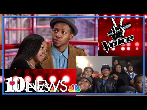 Chris Blue watches The Voice performance