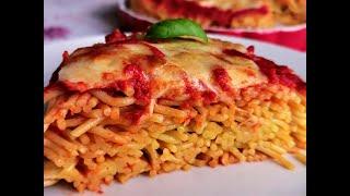 Пица от спагети - бърза вечеря. Италианска кухня.