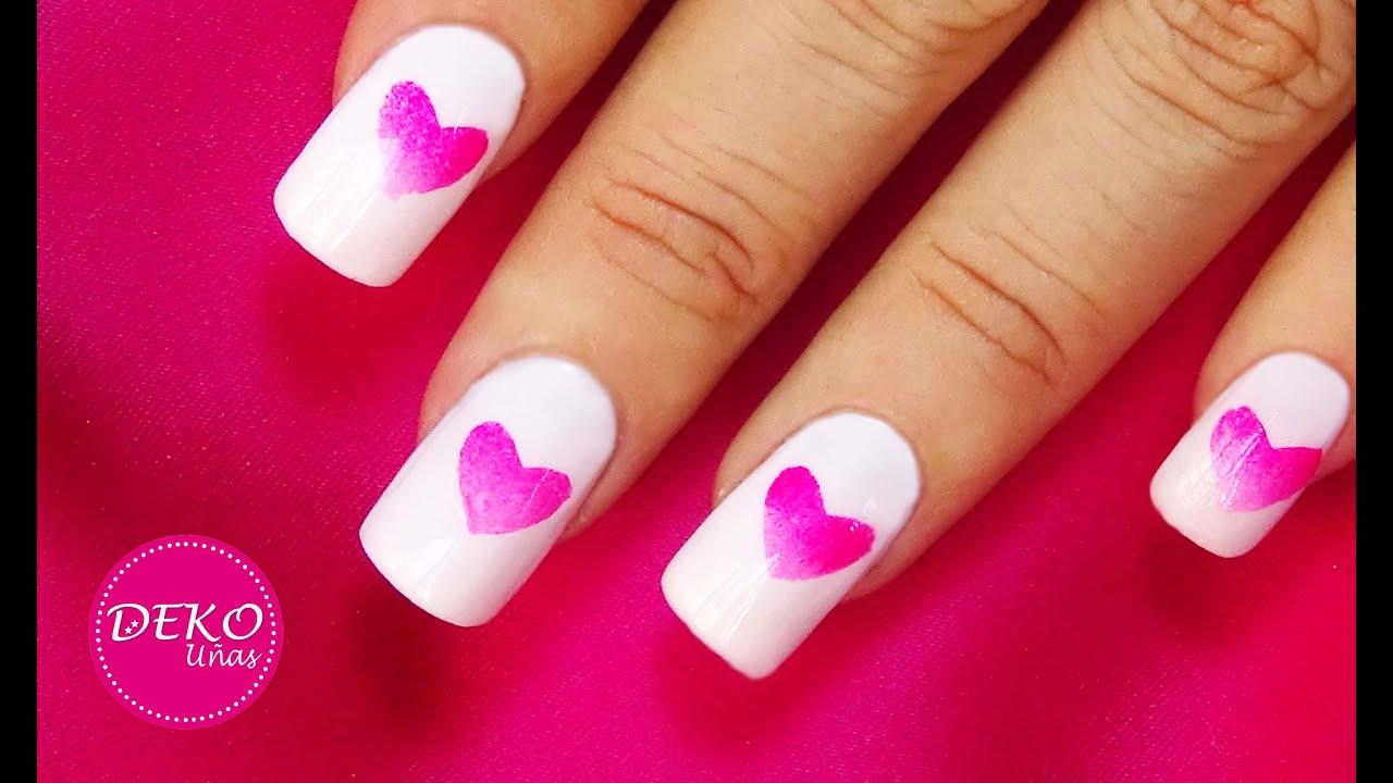 Decoracion de u as corazones degradados ombre heart nail - Decoracion para unas ...