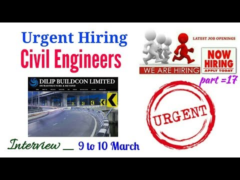 Dilip Bildcon Company Hiring Limited Vacancy for Civil Engineers || Walk for Interview in D. Bildcon