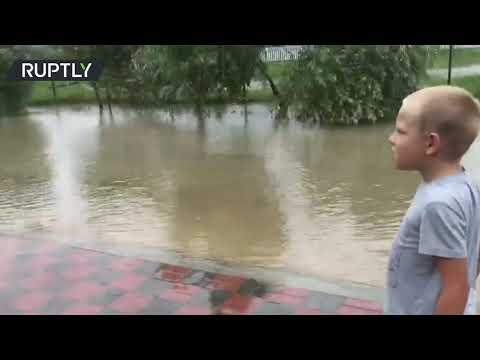 Heavy rains leave Russia's Krasnodar Region flooded