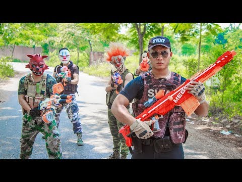 NERF WAR : Special Police SWAT Warriors Nerf Guns Fight Group Dangerous Criminals Mask Captain