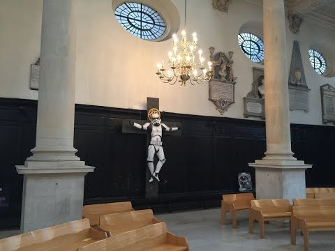 CRUCIFIED Stormtrooper on DISPLAY in London CHURCH! Welcome to the DARK SIDE!
