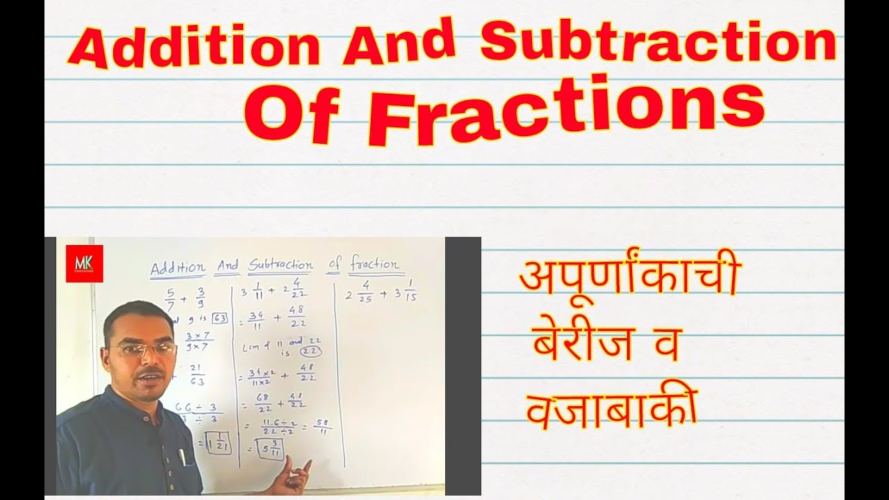 Addition And Subtraction Of Fraction.. for 4th to 8th std..