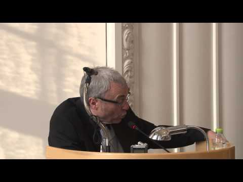 Robert Redeker speaks in the Danish Parliament building - in French