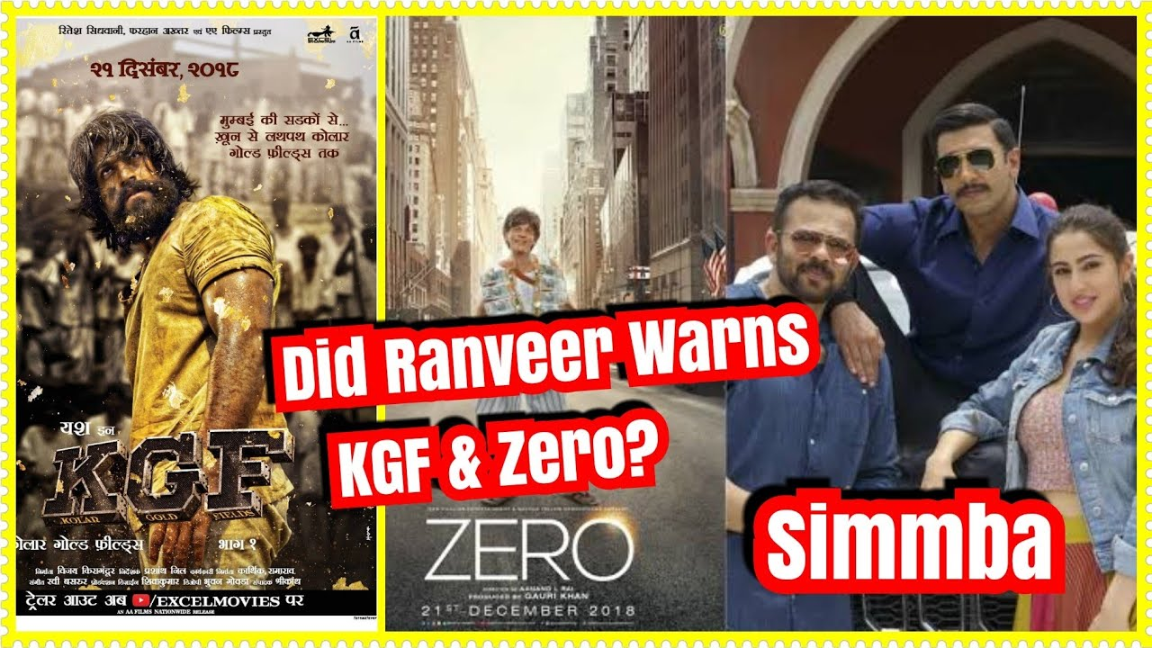 Is Simmba Movie Star Ranveer Singh Indirectly Warns Zero And Kgf