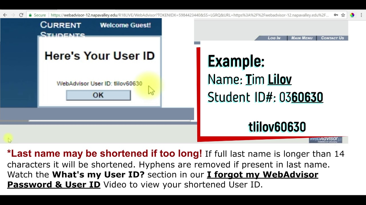 Logging into WebAdvisor & Creating a New Password
