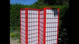 Japanese Shoji Room Divider 4 Panel Screens Red