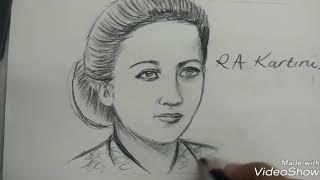 Cara Menggambar Wajah Ibu Ra Kartini Versi Lambat Gampang