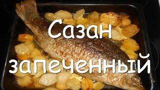 Как приготовить сазана в духовке, простой рецепт сазана запеченного целиком в фольге с картошкой.