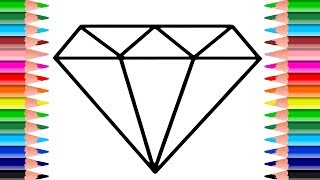Diamond Coloring Page | How to Draw a Sparkling Color Diamond for Kids