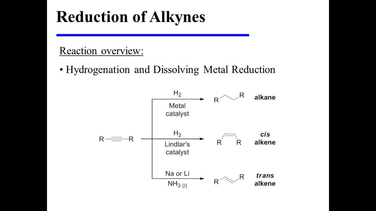 Reduction Of Alkynes  Hydrogenation And Dissolving Metal Reduction