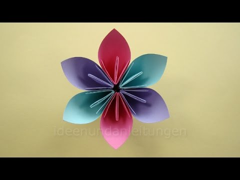 blumen basteln mit papier basteln mit kindern einfache origami blume falten diy. Black Bedroom Furniture Sets. Home Design Ideas