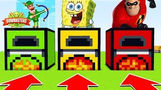Minecraft : DO NOT CHOOSE THE WRONG FURNACE (BOWMASTERS,SPONGEBOB,INCREDIBLES)(PS4/XboxOne/PE/MCPE)
