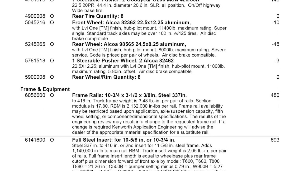 Full Spec Sheet Kenworth T880 The Truck I Have