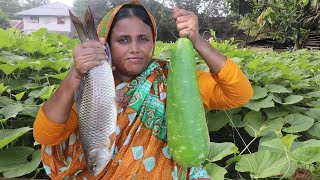 FARM FRESH Bottle Gourd With Rui Fish Recipe Delicious Bottle Gourd Masala Curry Village Food
