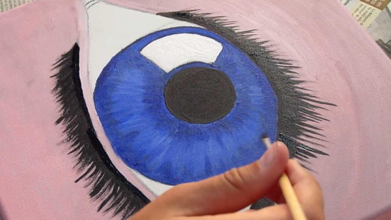Como pintar ojo en acrilico sobre lienzo eye in acrylic - Pintar con acrilicos paso a paso ...
