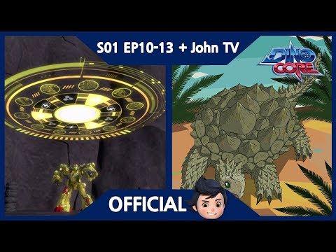 [DinoCore] S01 EP10-13 | John TV | Rex vs. Darkno | Dinosaur - Proganochelys, Ornithomimus