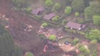 熊本・大分両県で相次いでいる地震で、熊本県南阿蘇村では18日、安否...